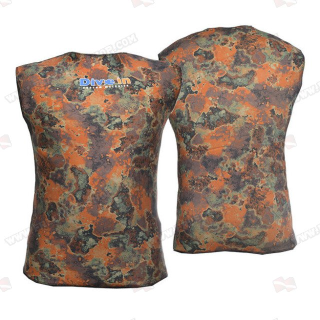 Divein Orange Camo Neoprene Vest